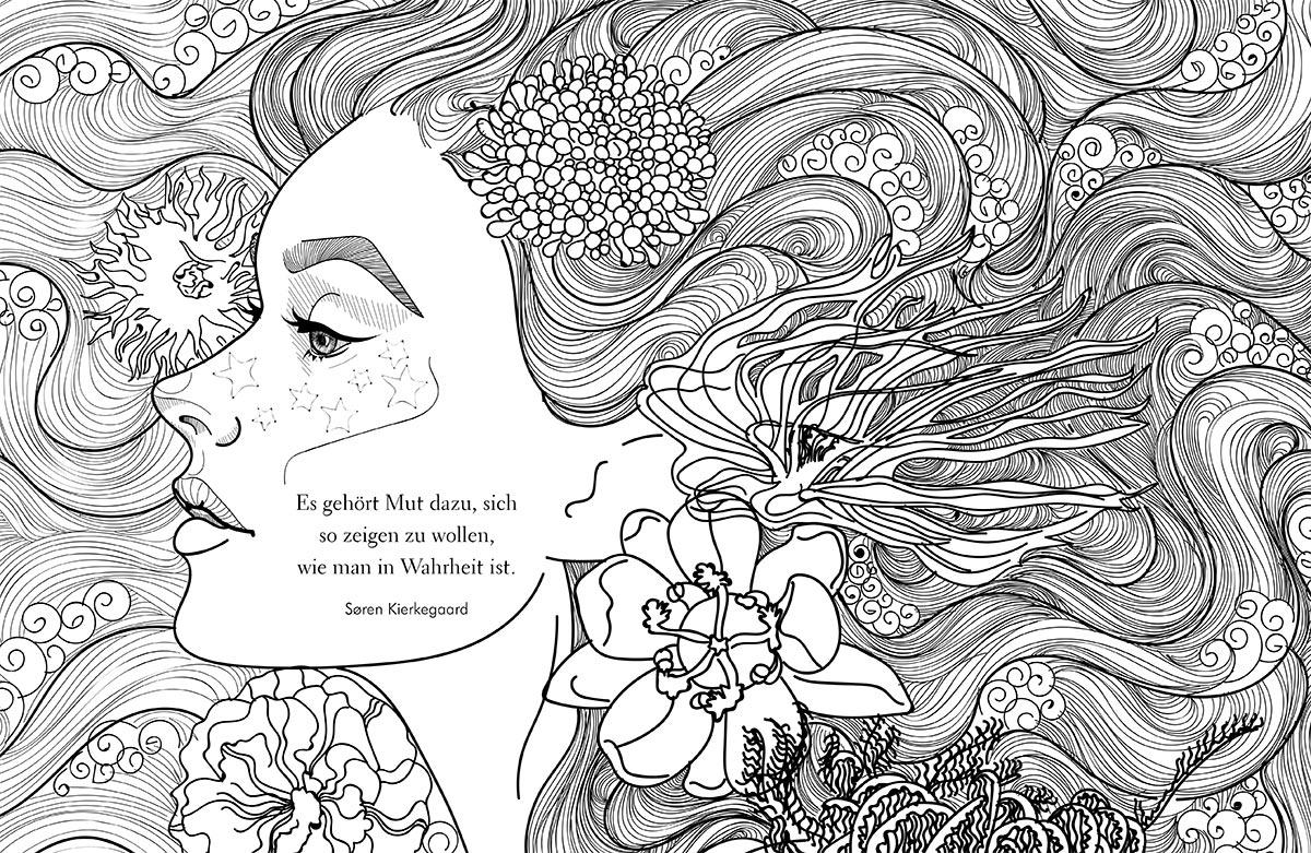 fantasy ausmalbilder meerjungfrau erwachsene  coloring